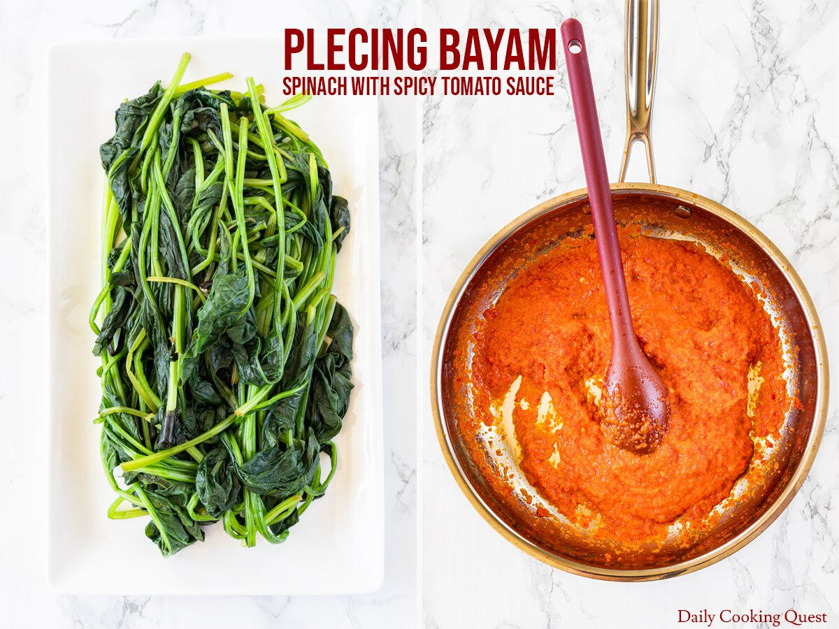The parts of a plecing bayam: (Left) nicely plated cooked spinach, (Right) bright red, bold, fresh, and spicy tomato sauce.