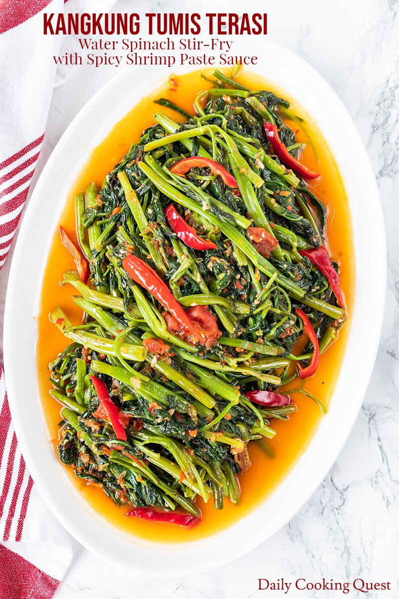 Kangkung tumis terasi - Water spinach stir-fry with spicy shrimp paste sauce.