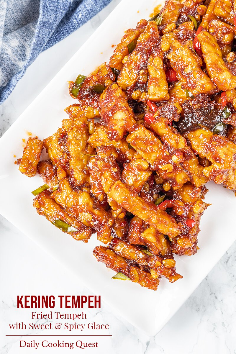 Kering Tempeh - Fried Tempeh with Sweet and Spicy Glace.