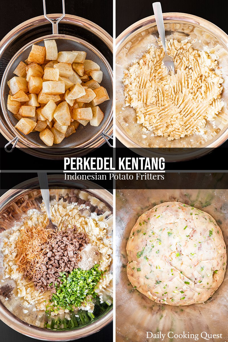 Step-by-step visual guide to prepare perkedel dough: (1) Deep-fry some potatoes. (2) Mash the deep-fried potatoes. (3) Pan-fry ground beef, and add this to the mashed potatoes along with chives, bawang goreng (fried shallot flakes), nutmeg, salt, sugar, and pepper. (4) Mix all the ingredients together and shape into a ball.