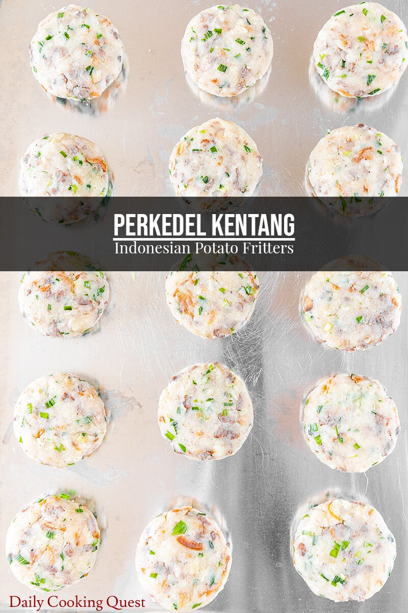 Shaped and chilled patties of potato mixture, ready to be deep-fried into perkedel kentang (potato fritters).