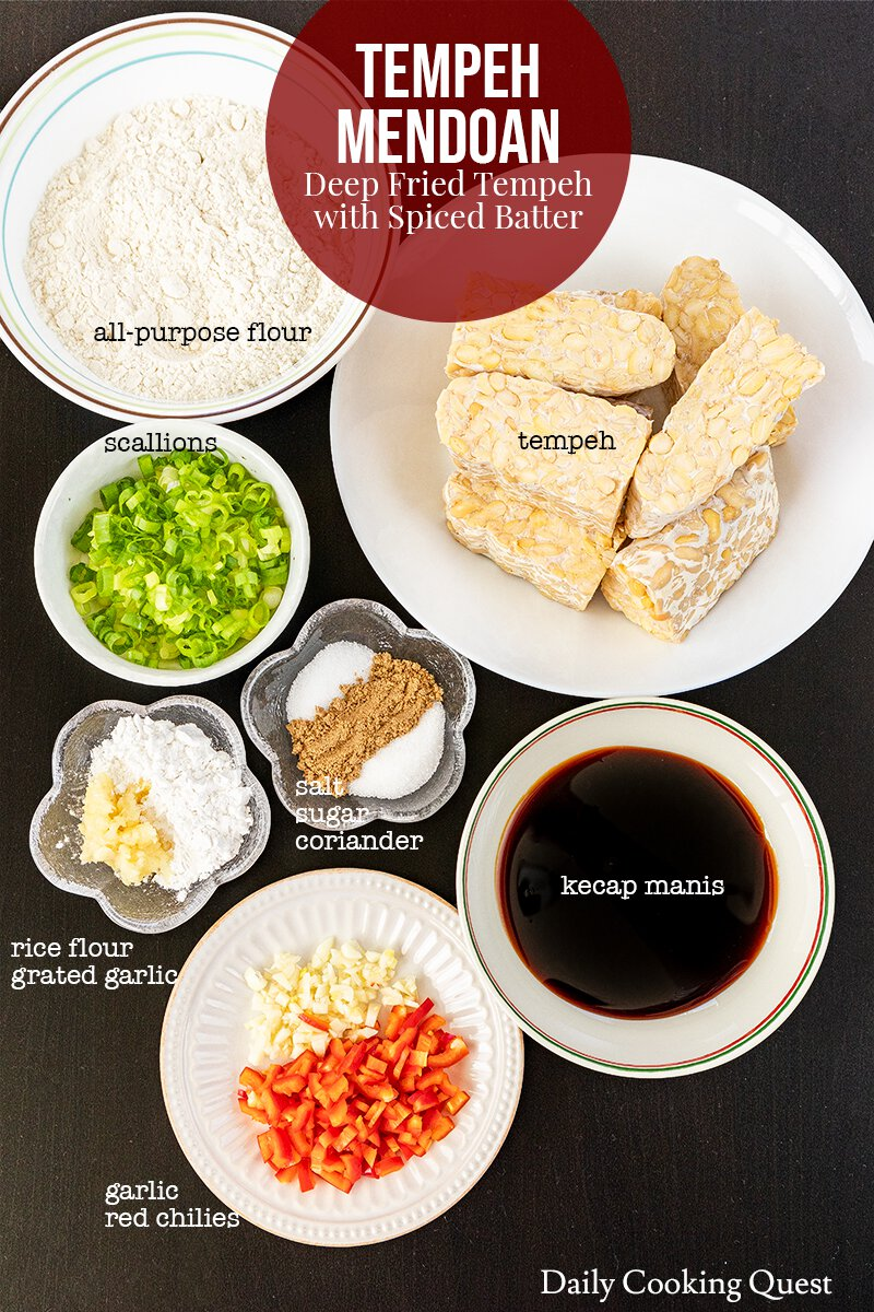 Ingredients to prepare tempeh mendoan (deep fried tempeh with spiced batter).