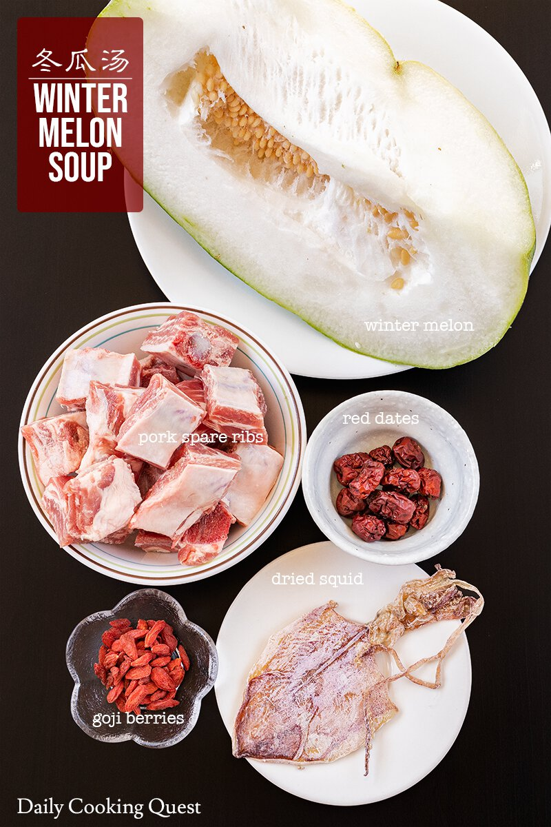 Ingredients to prepare Chinese winter melon soup.