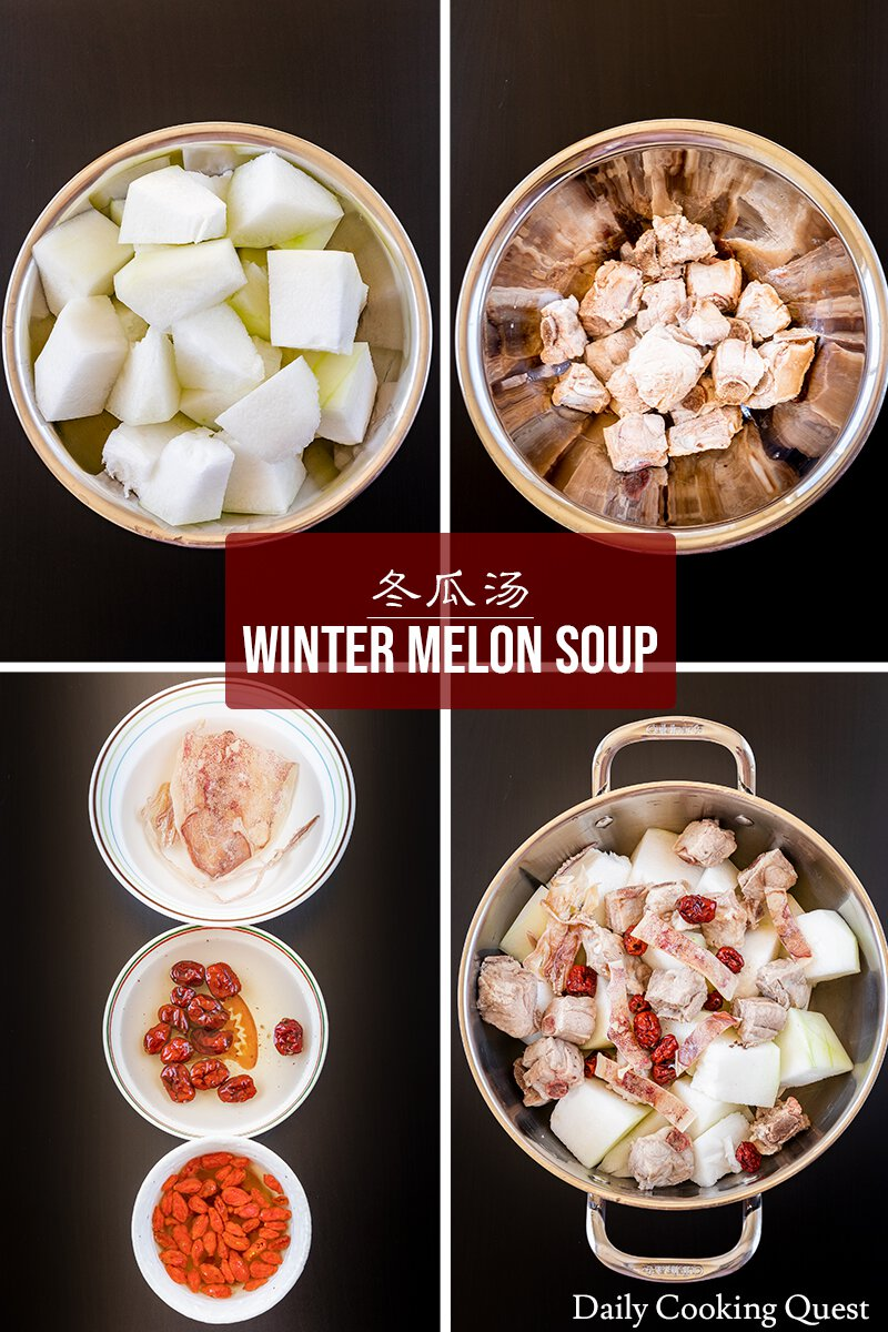 (1) Remove rind and seeds from winter melon, and cut into chunks. (2) Blanch pork ribs. (3) Soak dry ingredients. (4) Place winter melon, pork ribs, squid, and red dates in a soup pot.