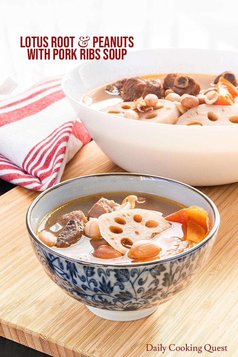 Chinese lotus root and peanuts with pork ribs soup.