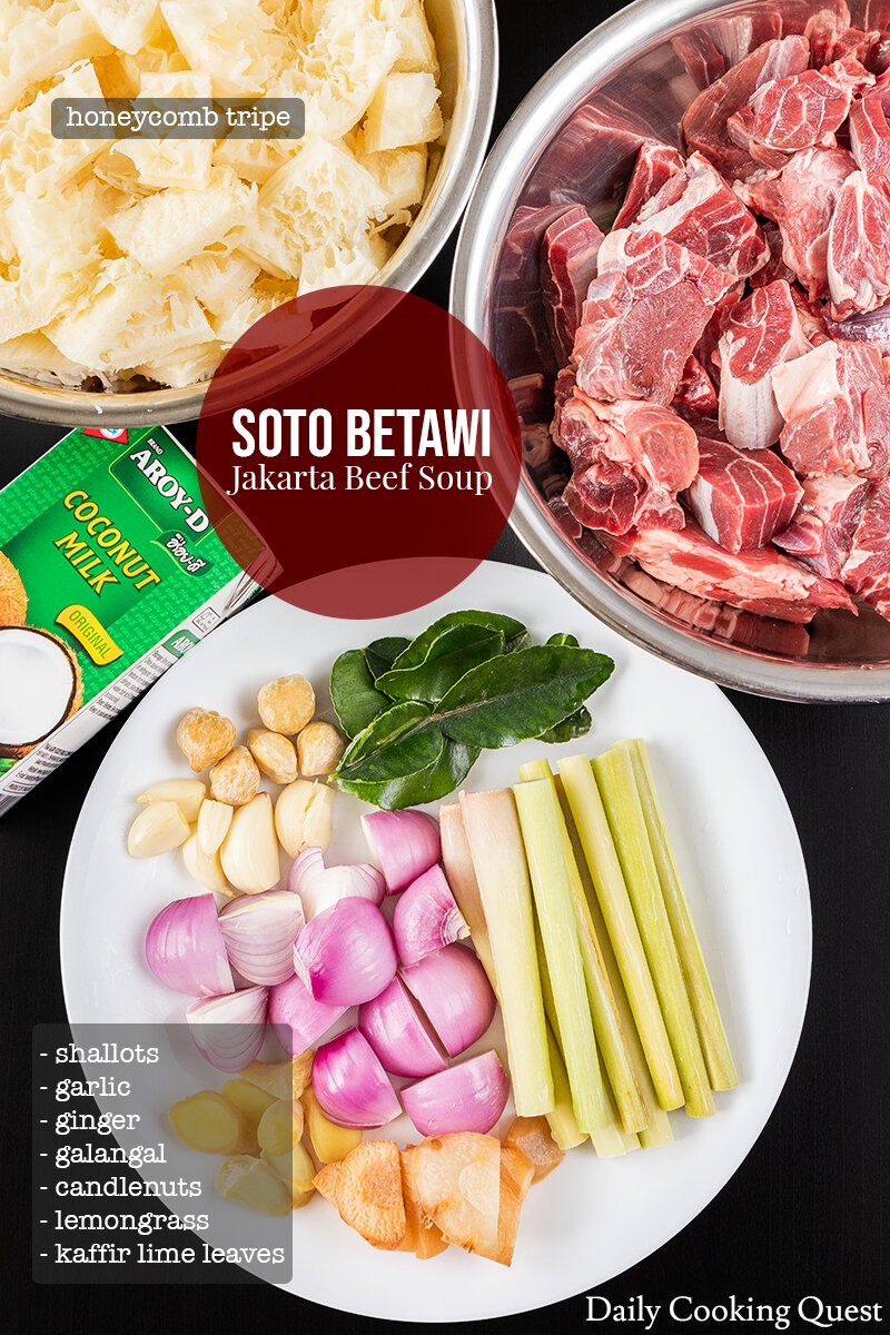 Ingredients to prepare Indonesian soto betawi (Jakarta beef soup): beef stew cuts, honeycomb tripe, shalots, garlic, ginger, galangal, candlenuts, lemongrass, kaffir lime leaves, and coconut milk.