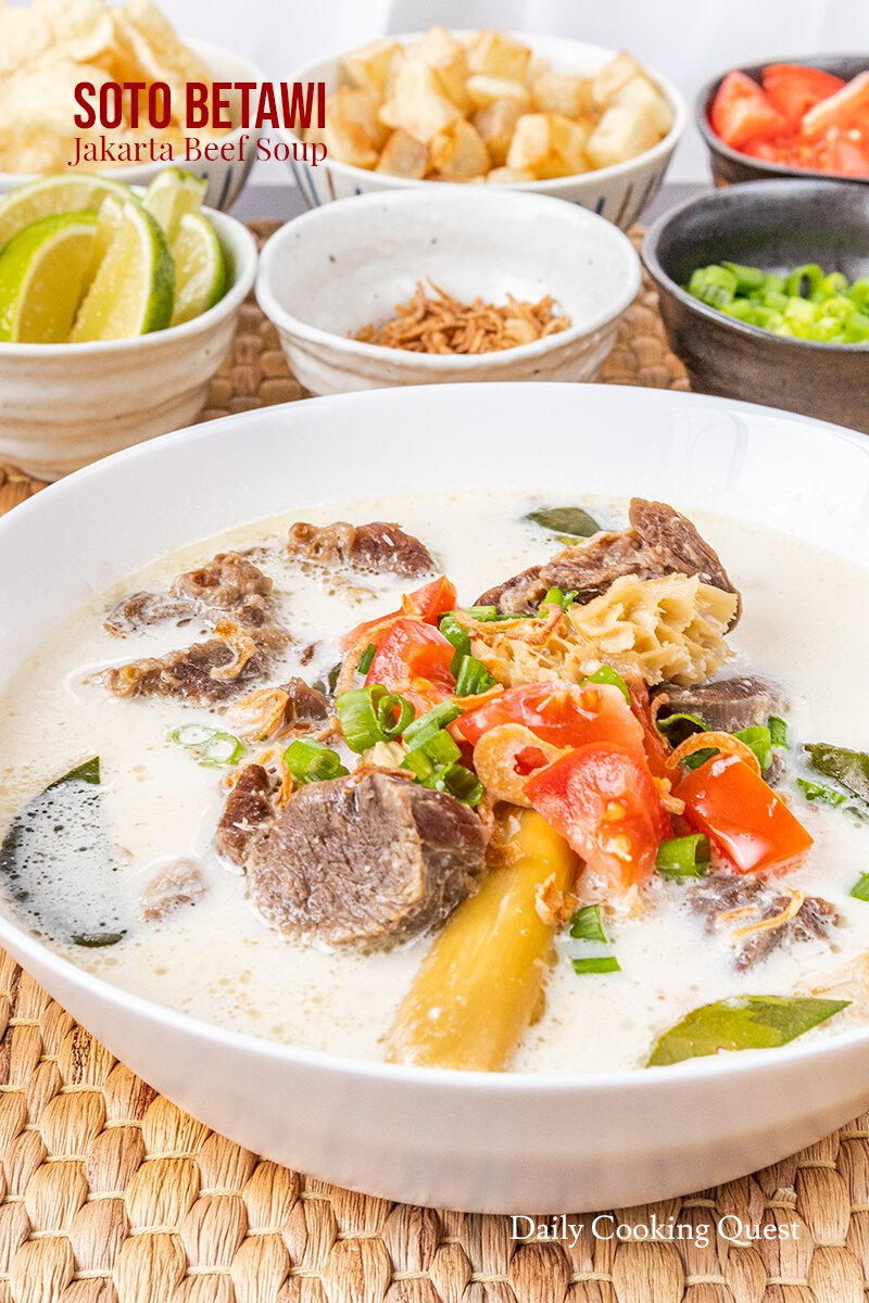A bowl of soto betawi - Jakarta beef soup.