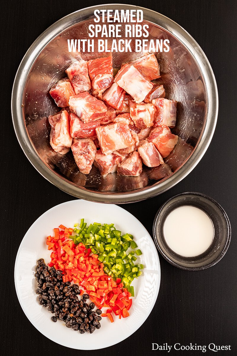 To prepare Chinese steamed spare ribs with black beans, you will need marinated spare ribs, chopped red and green chilies, Chinese fermented black beans, and corn starch slurry.