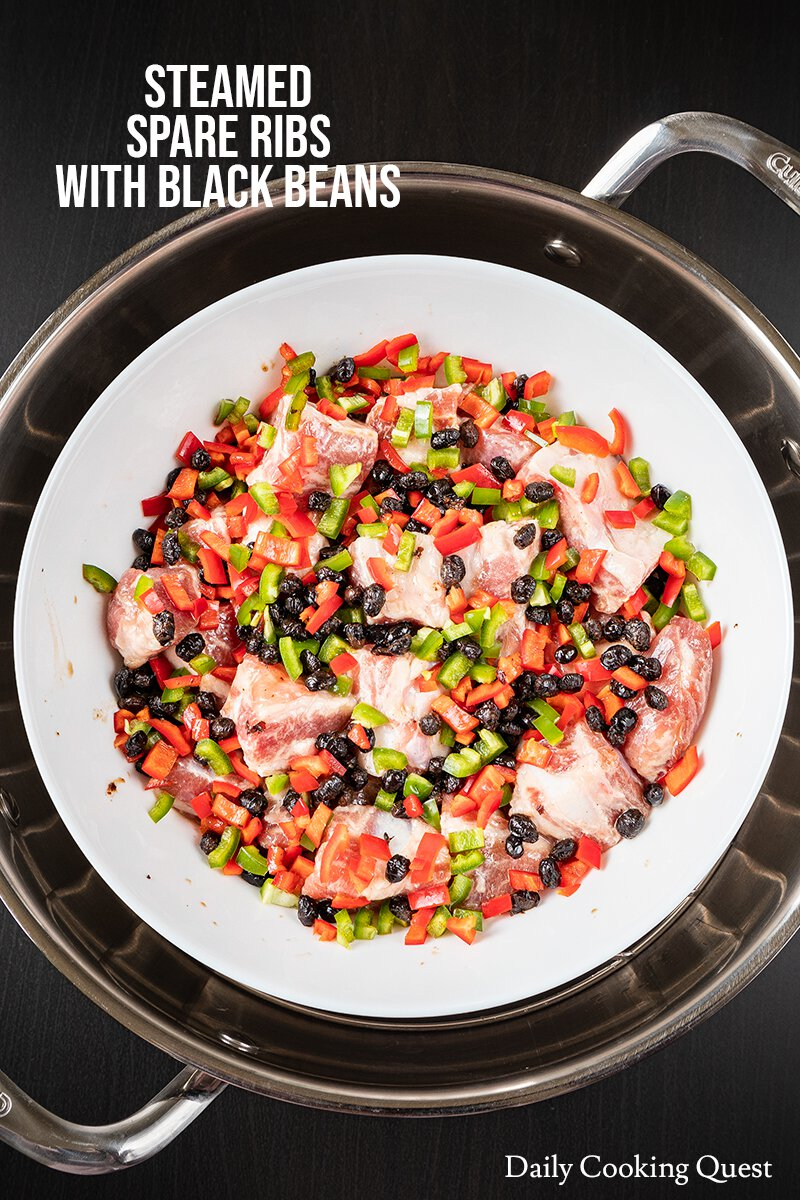 Place all ingredients in a heat proof plate/bowl and steam for about 10 minutes, or until meat is opaque and fully cooked.
