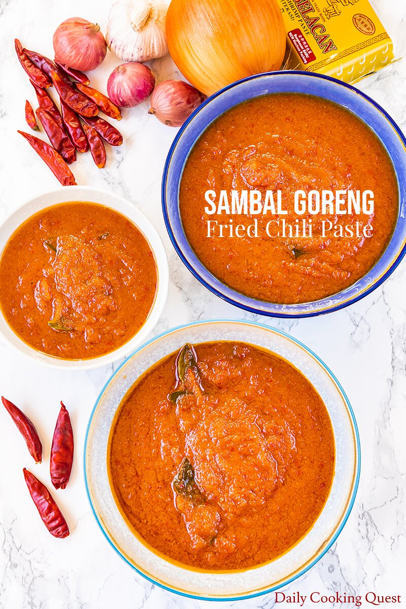 Sambal goreng - fried chili paste. This recipe yields 4 cups of chili paste, be sure to store them in sterilized jars.