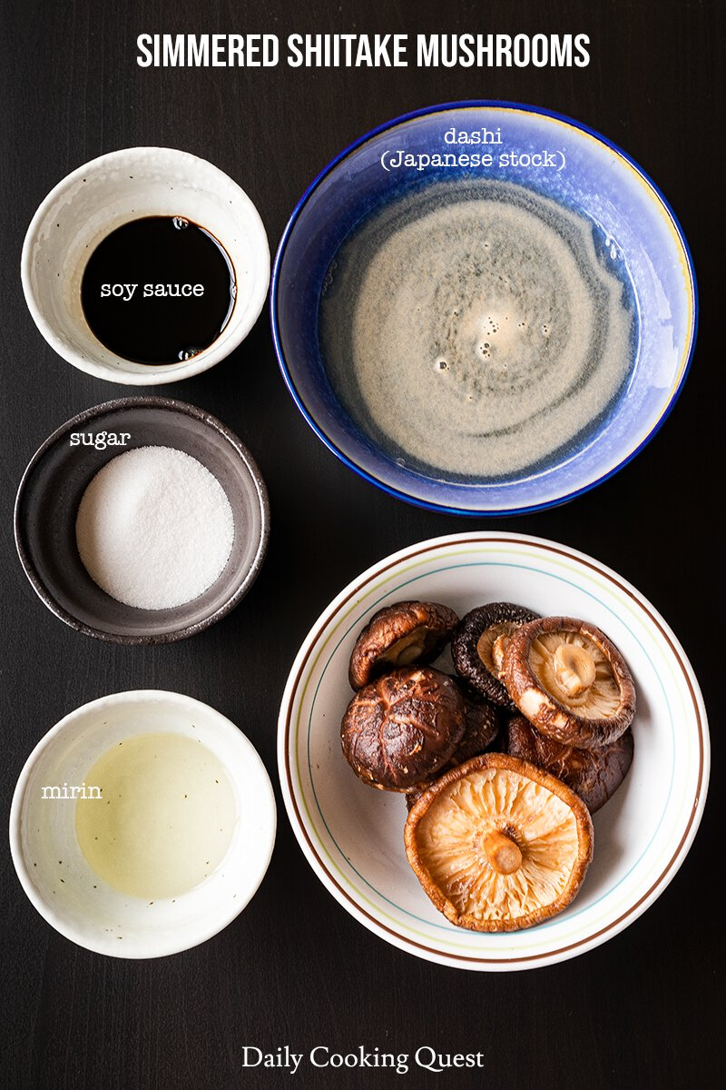 Simmered Shiitake Mushrooms Recipe Daily Cooking Quest