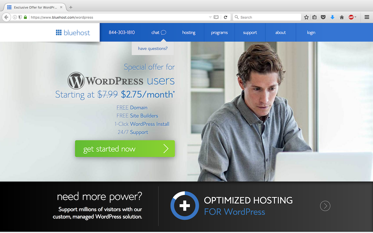 Step 1 - Bluehost signup page.