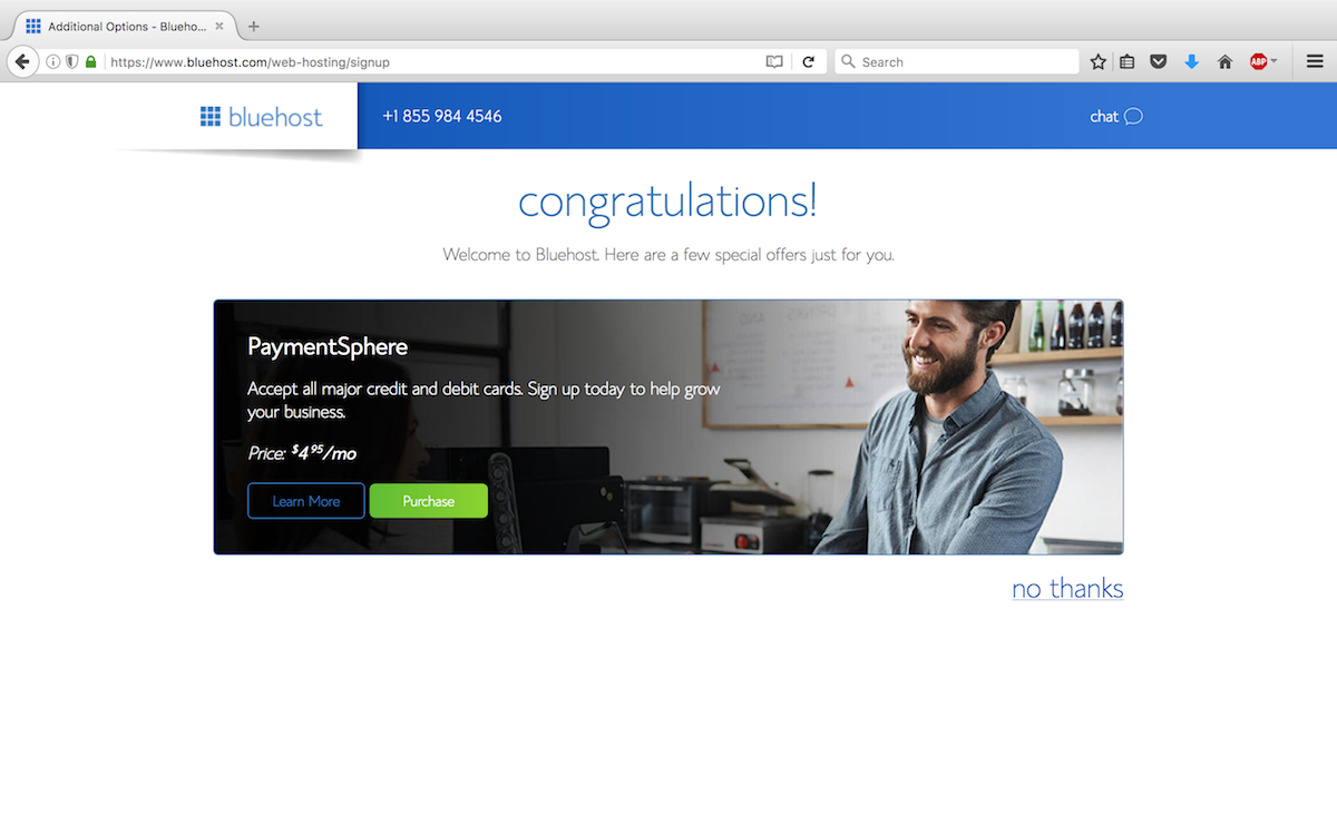 Step 7 - Congratulations for your new domain name and for hosting your blog with Bluehost.
