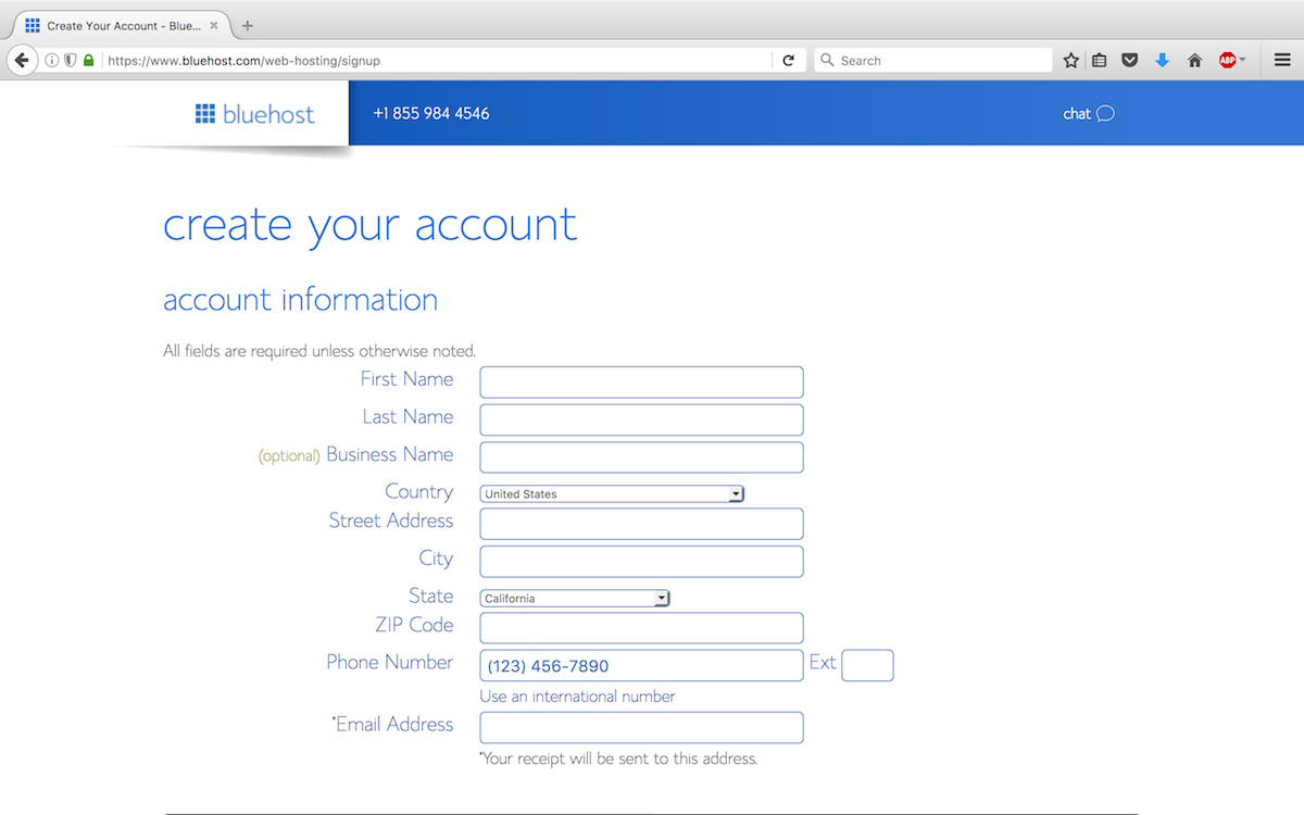Step 4 - Enter your account information.