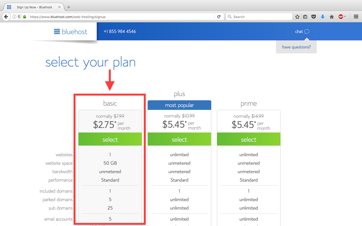Step 2 - Select your Bluehost plan.